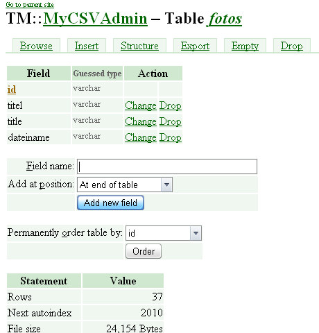 Editing the CSV text files table structure in the Administrator.